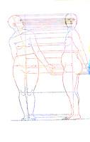 Two views of the female figure. Anatomical sketch by renaissance artist Albrecht Dürer reinterpreted in modern colors.