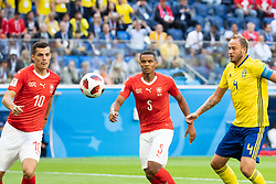 July 3, 2018 - St Petersburg, Russia - 180703 Granit Xhaka and Manuel Akanji competes for the ball with Andreas Granqvist of Sweden during the FIFA World Cup round of 16 match between Sweden and Switzerland on July 3, 2018 in ST Petersburg..Photo: Petter Arvidson / BILDBYRÃ…N / kod PA / 87748ï (Credit Image: © Petter Arvidson/Bildbyran via ZUMA Press)