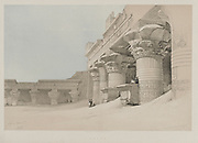 Edfu (Idfu), Egypt 1846 Color lithograph by David Roberts (1796-1864). An engraving reprint by Louis Haghe was published in a the book 'The Holy Land, Syria, Idumea, Arabia, Egypt and Nubia. in 1855 by D. Appleton & Co., 346 & 348 Broadway in New York.
