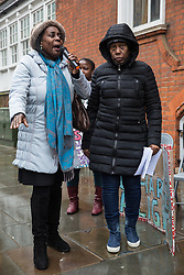 London, UK. 4th February, 2019. Joyce Reid (l), Chair of Croydon Central Labour Party, addresses other descendants of the Windrush generation and activists from Movement for Justice and other campaign groups opposed to the Government's hostile environment policy at a protest outside the Jamaican High Commission against plans by the Home Office and Jamaican government to recommence mass deportation charter flights on 6th February. The enforced removals are reported to include people who came to the UK as children and parents with British children and the deportation flight would be the first since March 2017 and the Windrush scandal.