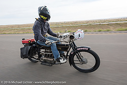 Mechanic and restorer Tanner Whitton of New York riding Mark Hill's 4-cylinder 1915 class-2 Henderson during the Motorcycle Cannonball Race of the Century. Stage-10 ride from Pueblo, CO to Durango, CO. USA. Tuesday September 20, 2016. Photography ©2016 Michael Lichter.