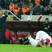 Galatasaray's coach Fatih TERIM (L) during their Turkish Superleague soccer match Galatasaray between Mersin Idman Yurdu at the Turk Telekom Arena at Aslantepe in Istanbul Turkey on Saturday 05 November 2011. Photo by TURKPIX