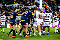 Wesley Fofana of ASM Clermont Auvergne celebrates with teammates after scoring a try - Mandatory by-line: Robbie Stephenson/JMP - 10/05/2019 - RUGBY - St James' Park - Newcastle, England - ASM Clermont Auvergne v La Rochelle - European Rugby Challenge Cup Final