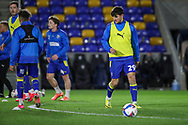AFC Wimbledon attacker Ryan Longman (29) warming up prior to kick off during the EFL Sky Bet League 1 match between AFC Wimbledon and Gillingham at Plough Lane, London, United Kingdom on 23 February 2021.