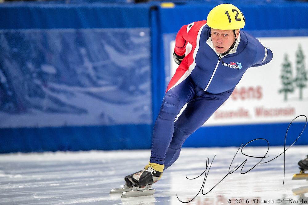 March 18, 2016 - Verona, WI - Richard Smith, skater number 126 competes in US Speedskating Short Track Age Group Nationals and AmCup Final held at the Verona Ice Arena.