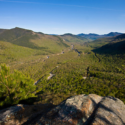 The view of the upper Saco River valley in Crawford Notch from Frankenstein Cliffs in New Hampshire's White Mountains.