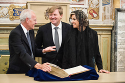 King Willem-Alexander and Queen Maxima, flanked by Ambrogio Piazzoni, Deputy Prefect of the Vatican Apostolic Library visit the Apostolic Library after a meeting in Vatican.