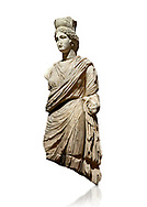 Roman statue of Tyche. Marble. Perge. 2nd century AD. Inv no 3062 . Antalya Archaeology Museum; Turkey.  Against a white background.<br /> <br /> A Tyche; was the presiding tutelary deity who governed the fortune and prosperity of a city; its destiny. In Classical Greek mythology; she is the daughter of Aphrodite and Zeus or Hermes. .<br /> <br /> If you prefer to buy from our ALAMY STOCK LIBRARY page at https://www.alamy.com/portfolio/paul-williams-funkystock/greco-roman-sculptures.html . Type -    Antalya     - into LOWER SEARCH WITHIN GALLERY box - Refine search by adding a subject, place, background colour, museum etc.<br /> <br /> Visit our ROMAN WORLD PHOTO COLLECTIONS for more photos to download or buy as wall art prints https://funkystock.photoshelter.com/gallery-collection/The-Romans-Art-Artefacts-Antiquities-Historic-Sites-Pictures-Images/C0000r2uLJJo9_s0