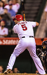 ANAHEIM, California/USA (Tuesday, September 26, 2012) -  Los Angeles Angels first baseman Albert Pujols #5 during the Mariners vs. Angels game held at the Angels  Stadium.   Byline and/or web usage link must read PHOTO © Eduardo E. Silva/SILVEX.PHOTOSHELTER.COM.