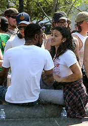 May 3, 2018 - New York, New York, United States - Actors Lakeith Stanfield and Gina Rodriguez were on the set of the new movie 'Someone Great' in Washington Square Park on May 3 2018 in New York City  (Credit Image: © John Sheene/Ace Pictures via ZUMA Press)