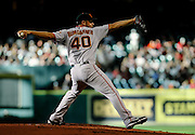 Aug 20, 2011; Houston, TX, USA; San Francisco Giants starting pitcher Madison Bumgarner (40) pitches against the Houston Astros in the first inning at Minute Maid Park. Mandatory Credit: Thomas Campbell-US PRESSWIRE