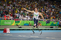 20160911 Copyright onEdition 2016©<br /> Free for editorial use image, please credit: onEdition<br /> <br /> Track athlete Richard Whitehead, 200m T42 - Men,  from Nottingham, wins a gold medal competing for ParalympicsGB at the Rio Paralympic Games 2016.<br />  <br /> ParalympicsGB is the name for the Great Britain and Northern Ireland Paralympic Team that competes at the summer and winter Paralympic Games. The Team is selected and managed by the British Paralympic Association, in conjunction with the national governing bodies, and is made up of the best sportsmen and women who compete in the 22 summer and 4 winter sports on the Paralympic Programme.<br /> <br /> For additional Images please visit: http://www.w-w-i.com/paralympicsgb_2016/<br /> <br /> For more information please contact the press office via press@paralympics.org.uk or on +44 (0) 7717 587 055<br /> <br /> If you require a higher resolution image or you have any other onEdition photographic enquiries, please contact onEdition on 0845 900 2 900 or email info@onEdition.com<br /> This image is copyright onEdition 2016©.<br /> <br /> This image has been supplied by onEdition and must be credited onEdition. The author is asserting his full Moral rights in relation to the publication of this image. Rights for onward transmission of any image or file is not granted or implied. Changing or deleting Copyright information is illegal as specified in the Copyright, Design and Patents Act 1988. If you are in any way unsure of your right to publish this image please contact onEdition on 0845 900 2 900 or email info@onEdition.com