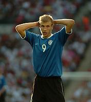 Photo: Tony Oudot.<br /> England v Estonia. UEFA European Championships Qualifying. 13/10/2007.<br /> Ragnar Klavan of Estonia looks dejected as he misses a chance