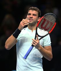 November 15, 2017 - London, United Kingdom - Grigor Dimitrov of Bulgaria against David Goffin of Belgium.during Day Four of the Nitto ATP World Tour  Finals played at The O2 Arena, London on November 15 2017  (Credit Image: © Kieran Galvin/NurPhoto via ZUMA Press)