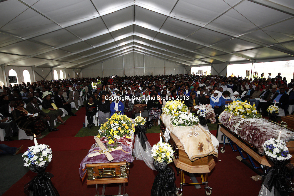 HAMMARSDALE - 14 September 2013 - Thousands packed out a marquee for four of the victims of a crash where 23 people were killed a week earlier after a lorry ploughed through four taxis and two cars. Picture: Allied Picture Press/APP