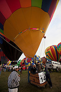Albuquerque Balloon Fiesta, New Mexico. Mass assencion on Sunday morning at dawn of 500 hot air balloons.