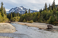 Mount Shuksan and the North Fork of the Nooksack River in the Mount Baker-Snoqualmie National Forest in Washington State, USA.  Photographed from NF-32 near the Mount Baker Highway and Shuksan Picnic Area.