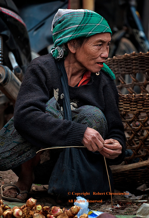 Muang Sing Market: A woman in traditional dress sells her meagre wares in the Muang Sing morning market, Laos.