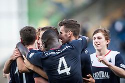 Falkirk's Phil Roberts (hidden) celebrates with team mates after scoring their third goal.<br /> Falkirk 3 v 1 Morton, Scottish Championship 17/8/2013.<br /> ©Michael Schofield.