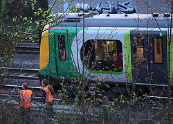 © under license to London News Pictures. 11/04/2011 Woman Dies in Fire on London Bound train. A woman passenger dies tonight when a fire broke out in the toilet of a london bound train. the train stopped 400 yards short of Leighton Buzzard station and the rest of the passengers were let of the train and walked to the station. No trains were running into and out of Euston as the power lines were switched off. Photo credit should read Craig Shepheard / London News Pictures