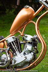 Rams MC (Norway) Fredrik Von Der Lippe's S&S Knucklehead loop frame chopper in the Twin Club's annual Custom Bike Show in Norrtälje, Sweden. Saturday, June 1, 2019. Photography ©2019 Michael Lichter.