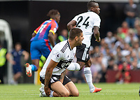 Football - 2018 / 2019 Premier League - Fulham vs. Crystal Palace<br /> <br /> Aleksandar Mitrovic (Fulham FC) complains to the referee as he prepares to get to his feet at Craven Cottage<br /> <br /> COLORSPORT/DANIEL BEARHAM