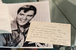 © Licensed to London News Pictures. 26/02/2016. London, UK. Items from the Duchess' collection of Elvis Presley memorabilia.  Property from the personal collection of Deborah, Duchess of Devonshire (1920-2014), will be offered for sale at Sotheby's on 2 March,  The youngest of the Mitford Sisters, the Duchess was the chatelaine of Chatsworth, one of England's greatest stately homes, and at the heart of British rural, cultural and political life.  The proceeds of the items in the eclectic collection are expected to realise £500,000 to £700,000. Photo credit : Stephen Chung/LNP
