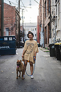 Savannah, Georgia - July 26, 2021: Summer walks with her dog Gracie May in downtown Savannah.