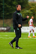 Celtic FC Manager Ronnie Deila celebrates the win during the Ladbrokes Scottish Premiership match between Hamilton Academical FC and Celtic at New Douglas Park, Hamilton, Scotland on 4 October 2015. Photo by Craig McAllister.