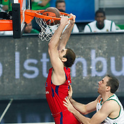 CSKA Moscow's Nenad Krstic (L) during their Euroleague Final Four semifinal Game 1 basketball match CSKA Moscow's between Panathinaikos at the Sinan Erdem Arena in Istanbul at Turkey on Friday, May, 11, 2012. Photo by TURKPIX