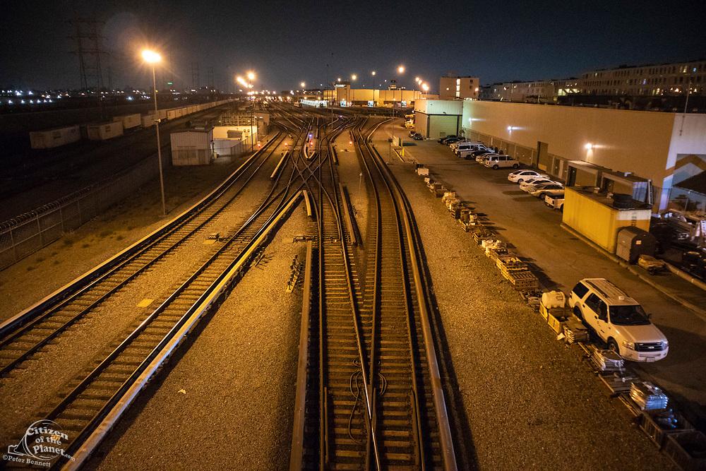 Railroad tracks in Downtown Los Angeles, California, USA