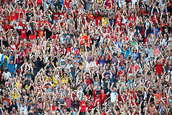 July 28, 2018 - Ann Arbor, Michigan, United States - Fans perform the wave during an International Champions Cup match between Manchester United and Liverpool at Michigan Stadium in Ann Arbor, Michigan USA, on Wednesday, July 28,  2018. (Credit Image: © Amy Lemus/NurPhoto via ZUMA Press)