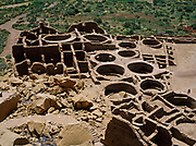 Pueblo Bonito, occupied from early 900s to about 1200 a.d., contained approximately 800 rooms and 37 kivas, Chaco Culture National Historical Park, New Mexico.