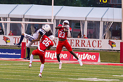NORMAL, IL - September 04: Clayton Isbell pulls in an interception as the ball misses the intended target of Thomas Brown - give an assist to Jarrell Jackson during a college football game between the Bulldogs of Butler University and the ISU (Illinois State University) Redbirds on September 04 2021 at Hancock Stadium in Normal, IL. (Photo by Alan Look)