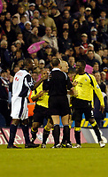 Photo: Leigh Quinnell.<br /> West Bromwich Albion v Manchester City. The Barclays Premiership. 10/12/2005. Referee Mike Dean  sends off Man Citys Andrew Cole.