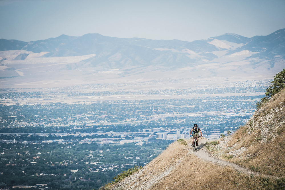 The Pipeline Trail near Salt Lake City is filled with scenic views, Mike White out for a morning spin.