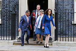 © Licensed to London News Pictures. 10/09/2019. London, UK. Secretary of State for International Development ALOK SHARMA (L), Secretary of State for Scotland ALISTER JACK (at the back), Secretary of State for Work and Pensions, Minister for Women And Equalities THÉRÈSE COFFEY (2nd from R) and Secretary of State for Environment, Food & Rural Affairs THERESA VILLIERS (R)  departs from No 10 Downing Street after attending the weekly Cabinet Meeting. Photo credit: Dinendra Haria/LNP