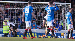Ayr United's Alan Forrest (left) celebrates scoring his side's first goal of the game during the William Hill Scottish Cup, fifth round match at Somerset Park, Ayr.