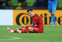 Football - European Championships 2012 - Portugal vs. Netherlands<br /> Christiano Ronaldo of Portugal celebrates at the final whistle following his teams win at the Metalist Stadium, Kharkiv, Ukraine