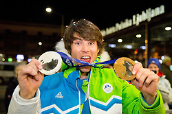 Zan Kosir, silver and bronze medallist at reception of Slovenia team arrived from Winter Olympic Games Sochi 2014 on February 25, 2014 at Airport Joze Pucnik, Brnik, Slovenia. Photo by Vid Ponikvar / Sportida