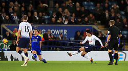 Tottenham Hotspur's Son Heung-min (first right) scores his side's first goal of the game