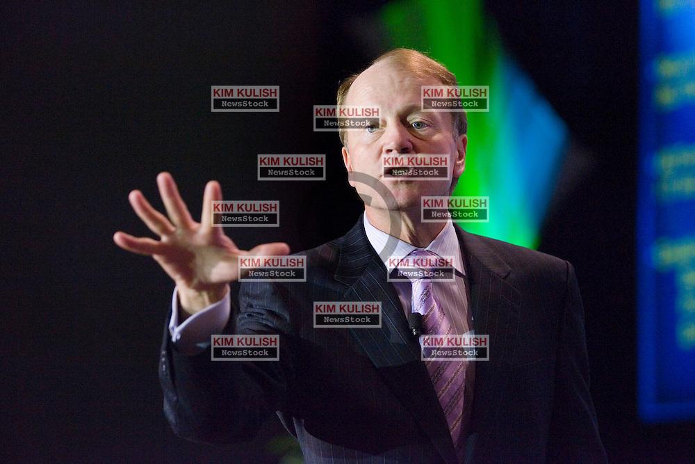 John Chambers, Cisco CEO, gives the opening keynote address at the  2007 INTEROP  show in Las Vegas, NV.    Photo By Kim Kulish
