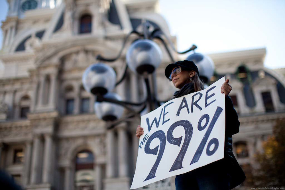 An Occupy demonstrator in front of City Hall, Philadelphia, PA