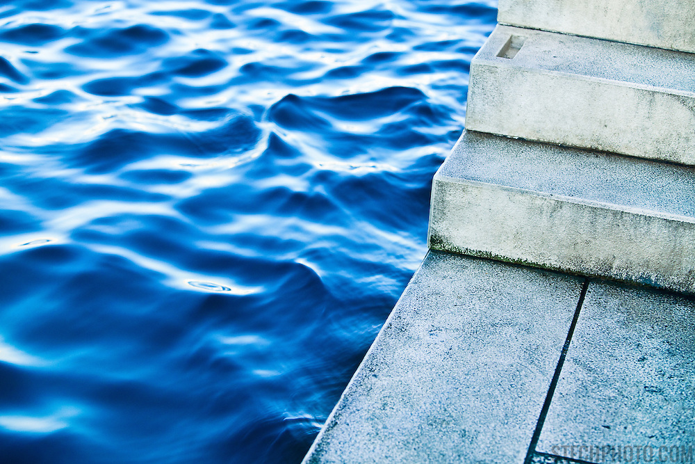 Steps leading down to the loading platform for boat rides across the habor by traditional Barkarjoli (boatmen) in Zadar, Croatia.