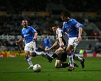 Photo: Andrew Unwin.<br /> Newcastle United v Birmingham City. The FA Cup. 17/01/2007.<br /> Newcastle's James Milner (C) tries to tackle Birmingham's Mathew Sadler (R).