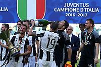 Gianluigi Buffon e Leonardo Bonucci<br /> Esultanza Juventus Campione d'Italia . Celebration Juventus Italian championship winner <br /> Torino 21-05-2017 Juventus Stadium Football Calcio Serie A 2016/2017 Juventus - Crotone .<br /> Foto Insidefoto