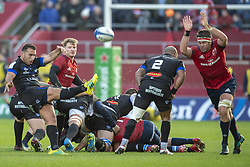 December 9, 2018 - Limerick, Ireland - Ludovic Radosavljevic of Castres kicks the ball during the Heineken Champions Cup Round 3 match between Munster Rugby and Castres Qlympique at Thomond Park Stadium in Limerick, Ireland on December 9, 2018  (Credit Image: © Andrew Surma/NurPhoto via ZUMA Press)