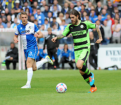 Rob Sinclair for the ball takes control of the ball against Bristol Rovers' Lee Brown. - Photo mandatory by-line: Nizaam Jones /JMP - Mobile: 07966 386802 - 03/05/2015 - SPORT - Football - Bristol - Memorial Stadium - Bristol Rovers v Forest Green Rovers - Vanarama Football Conference.