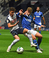 Preston North End's Josh Harrop battles for the ball<br /> <br /> Photographer Dave Howarth/CameraSport<br /> <br /> The Carabao Cup Third Round - Preston North End v Brighton and Hove Albion - Wednesday 23rd September 2020 - Deepdale - Preston<br />  <br /> World Copyright © 2020 CameraSport. All rights reserved. 43 Linden Ave. Countesthorpe. Leicester. England. LE8 5PG - Tel: +44 (0) 116 277 4147 - admin@camerasport.com - www.camerasport.com