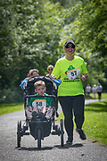 NO FEE PICTURES<br /> 19/5/18 Hundreds of people of all ages lapped up the summer sunshine when they came out to support an important cause which is close to many of their hearts, organ donation, by taking part in the Irish Kidney Association's 'Run for a Life' family fun run which took place at Corkagh Park, Clondalkin, Dublin 22 on Saturday 19th May.   (www.runforalife.ie) Pictured Sam kinahan, 4 years on dialysis and mum Chloe, Baldoyle. Picture:Arthur Carron